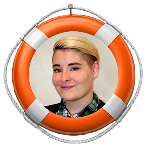 image of kata tetzlaff headshot in an orange life preserver
